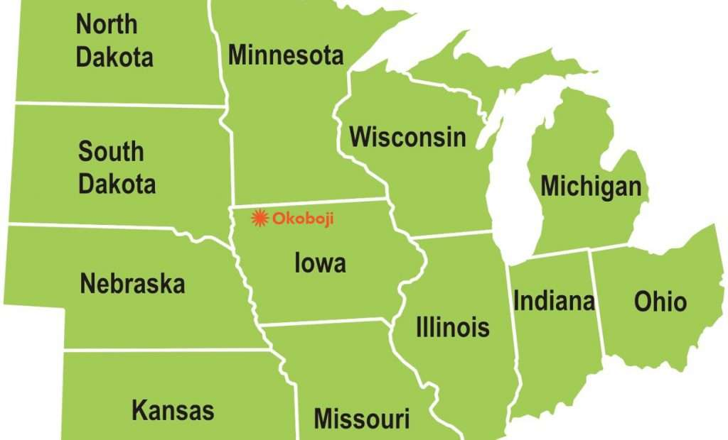 Midwest Map highlighting Okoboji