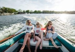 women boating